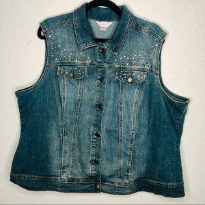 CJ Banks Studded Plus Size Denim Vest | 2X
